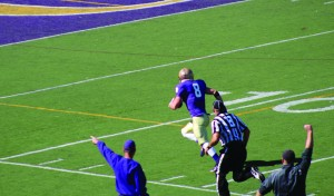 Senior wide-receiver Nate Even runs in for the first of his two touchdowns Saturday against Buena Vista. Even, who caught 7 passes for 126 yards, was one of the bright spots for the Duhawks during their 48-29 loss.