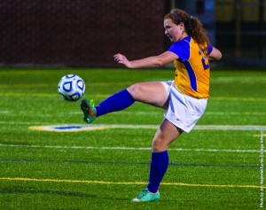 First-year midfielder Maura Walsh boots the ball downfield during the Duhawks' 2-1 win over Augustana earlier this season.